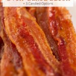 Oven-baked bacon with text overlay