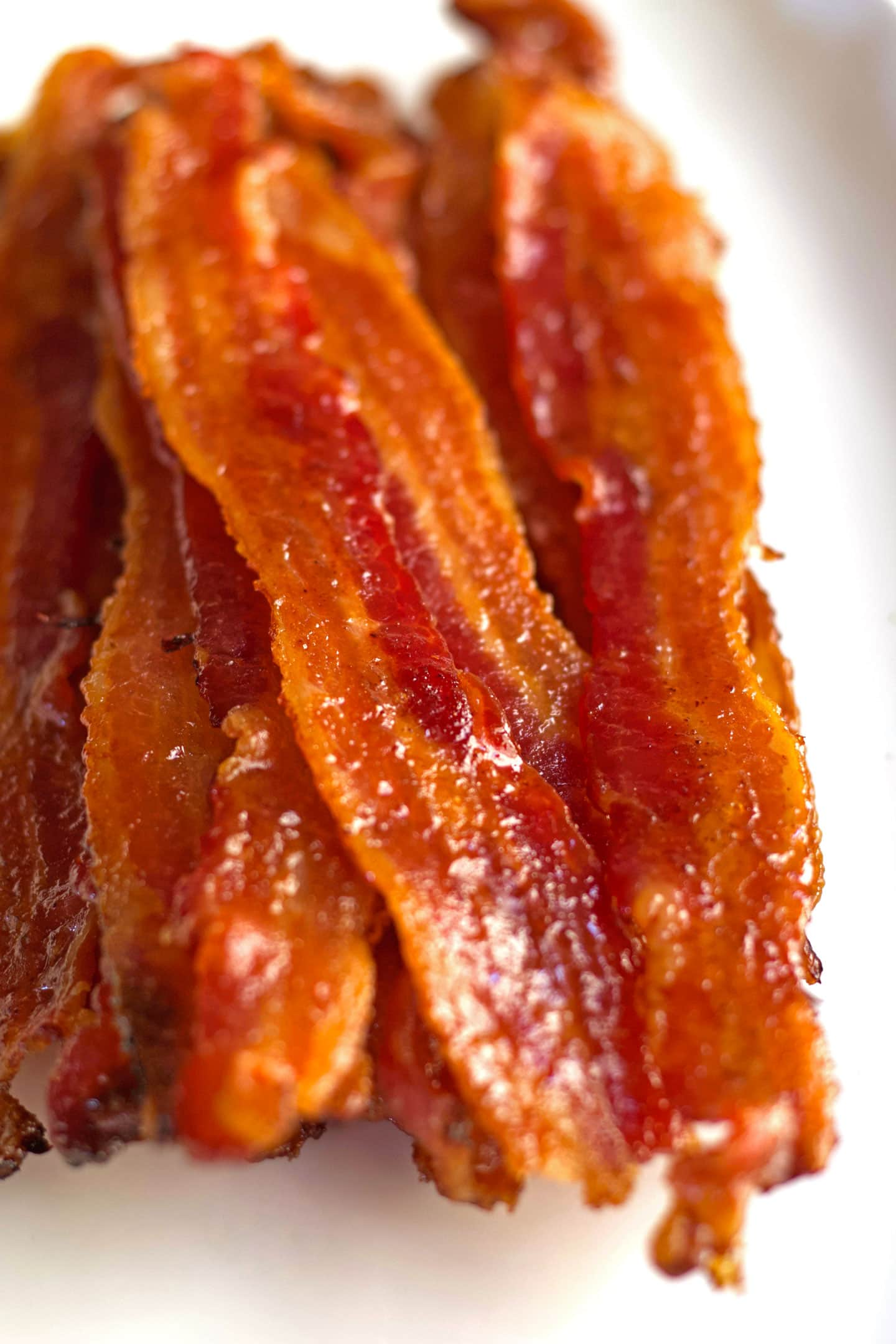 Stack of oven-baked candied bacon.