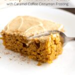 Piece of pumpkin sheet cake on a plate with sheet pan in background and graphics overlayed.