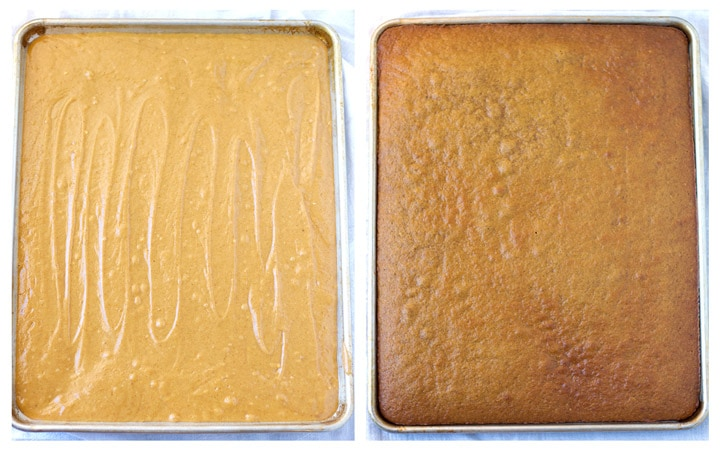 Side-by-side of cake batter and baked cake.