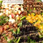 Up close of salad ingredients with text overlay