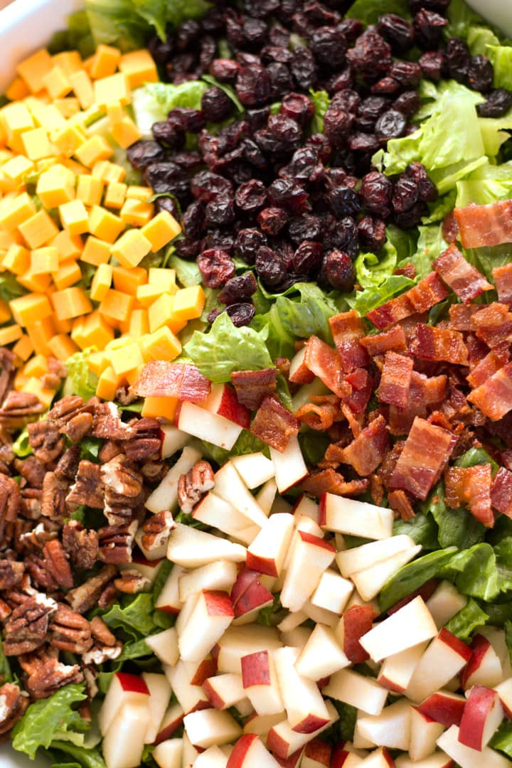 Close-up of Autumn chopped Salad before being tossed.