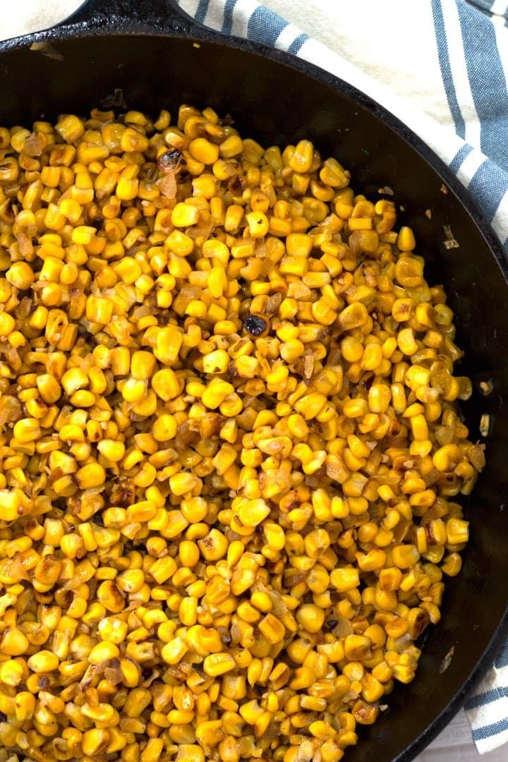 Pan of Skillet Roasted Corn