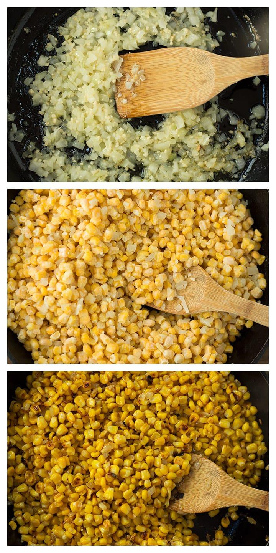Skillet Roasted Corn Process Photos