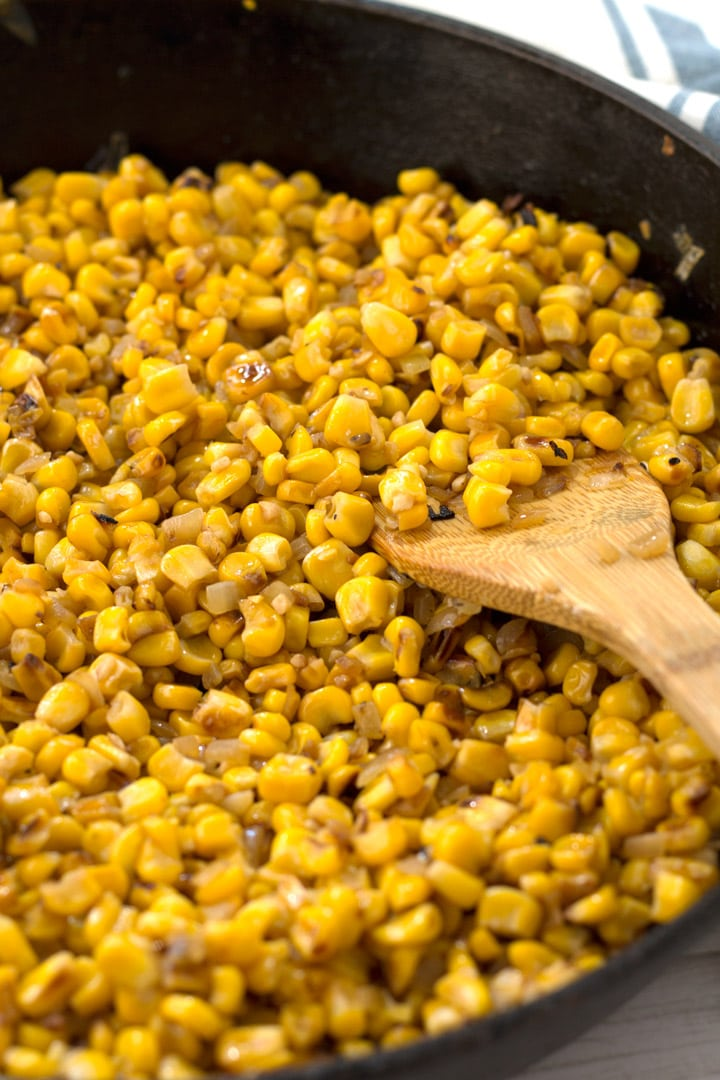 Skillet Roasted Corn Cooking in Pan