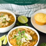 Two bowls of white chicken chili with text overlay