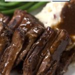 Close up of Pot Roast on Plate with Text Overlay