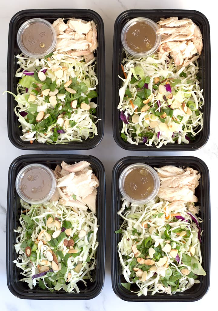Food prep containers with easy asian slaw salad