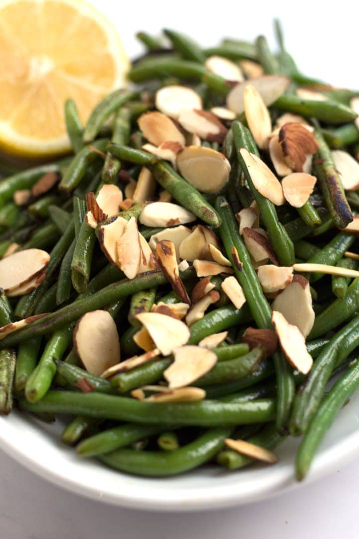 Close-up of Green Beans Almondine