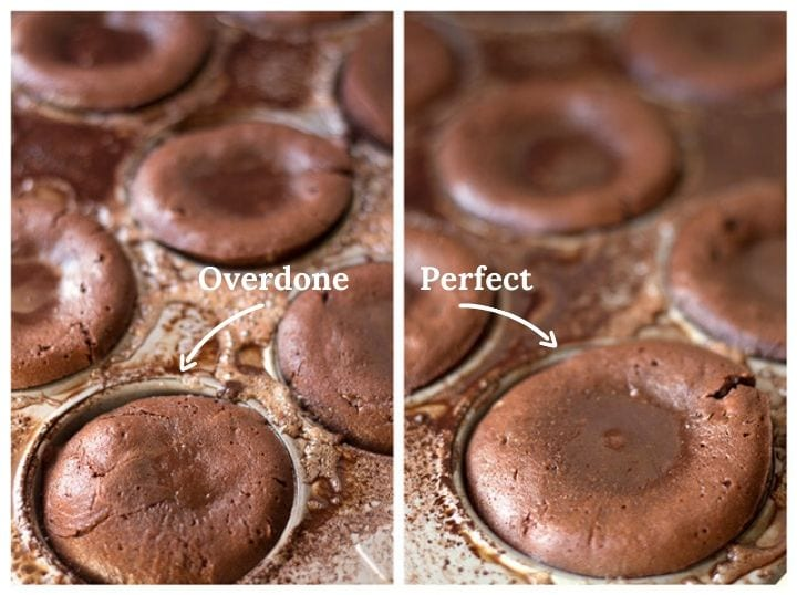 Overdone vs perfectly done lava cakes comparison