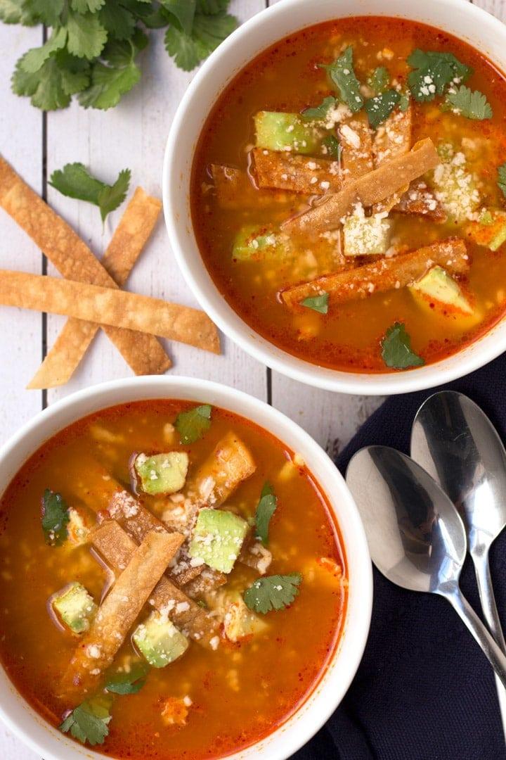 Overhead of Chicken Tortilla Soup