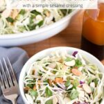 Asian Slaw Salad in a bowl with text overlay