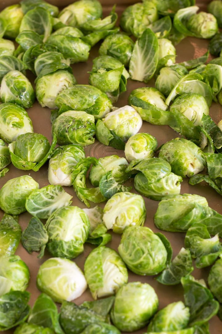 Sheet Pan Of Raw Brussel Sprouts