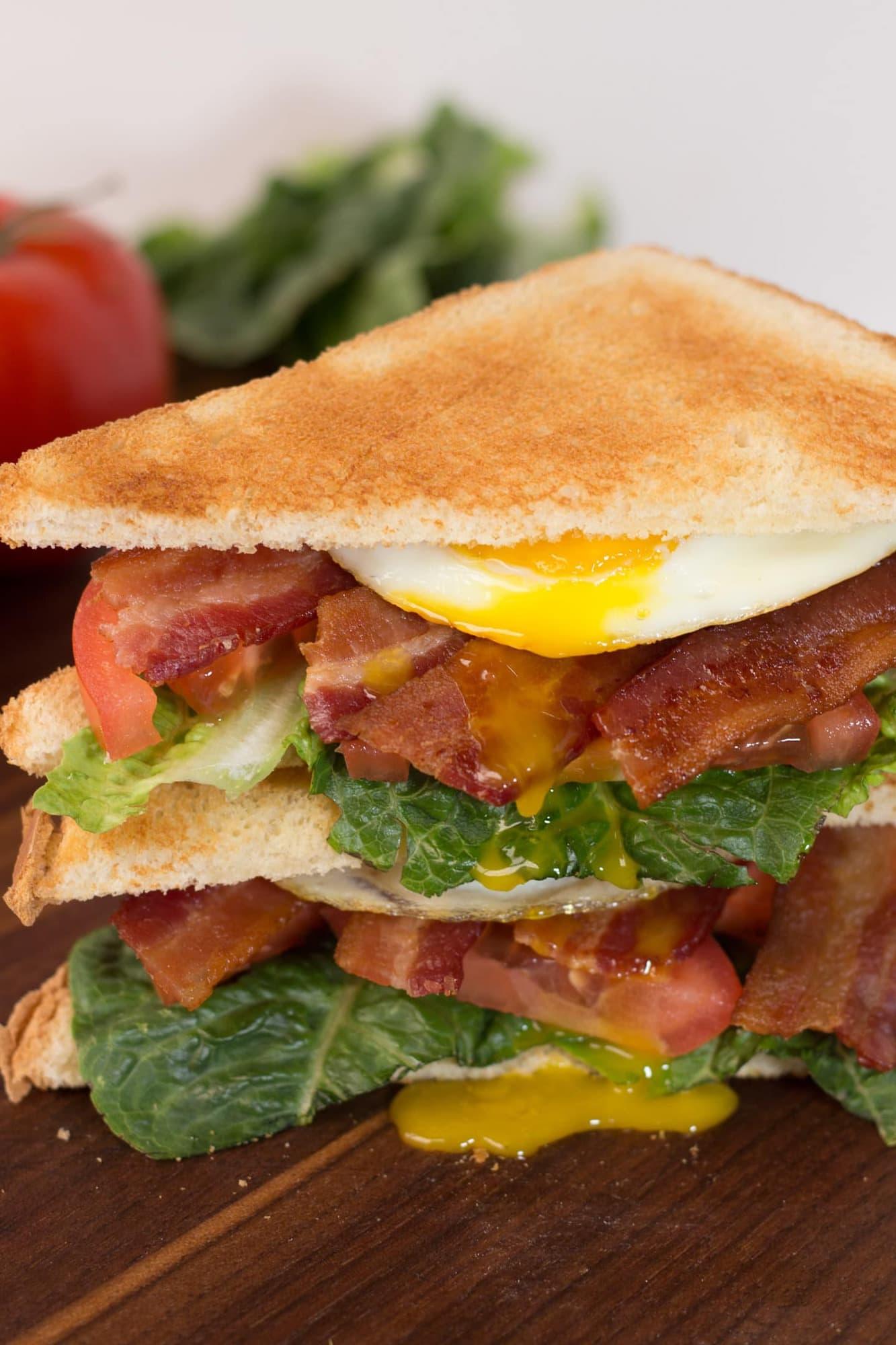 BELT Sandwich on cutting board