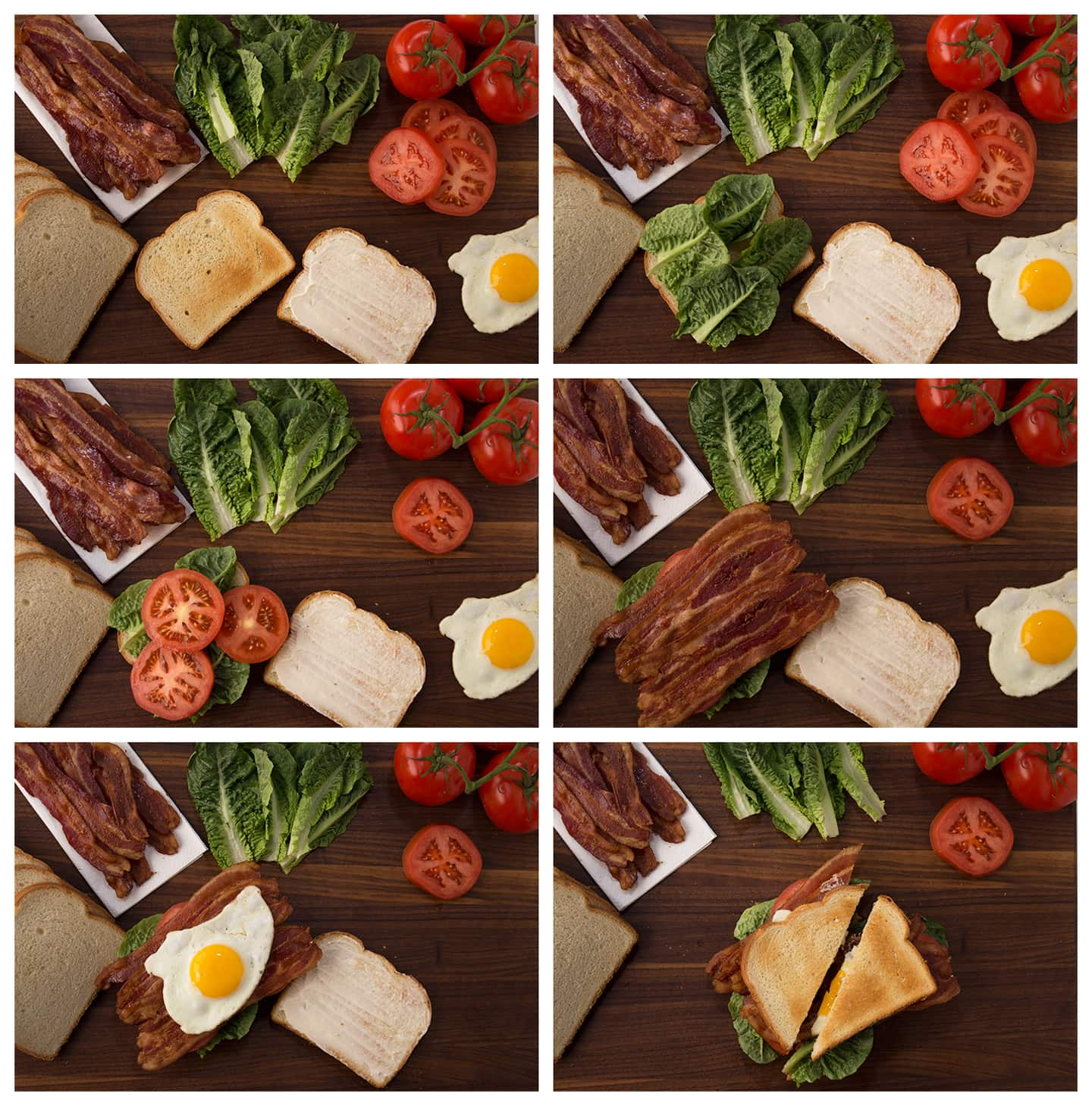 Step by step assembly of BELT sandwich (BLT + Egg)