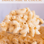 Scoop of mac and cheese with text overlay
