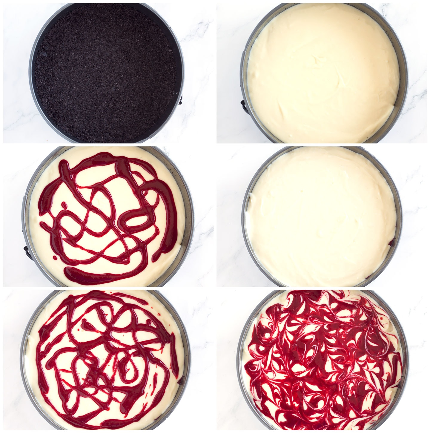 6 steps of assembling the white chocolate raspberry cheesecake