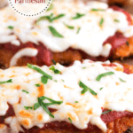 Close up of Chicken Parmesan with text overlay