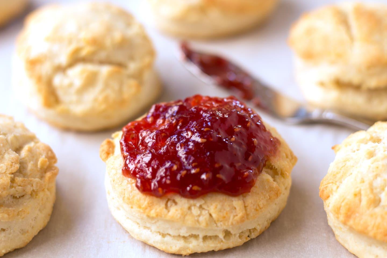 Cream biscuit with jam