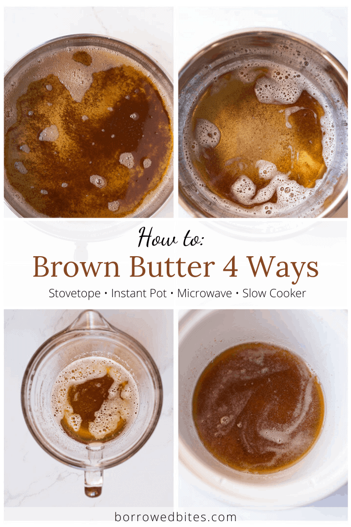 Diptich of 4 ways to brown butter