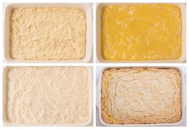 Process of layering lemon curd coffee cake.