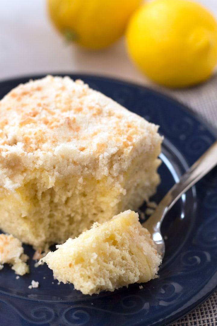 Bite of Lemon Coffee Cake on a fork.