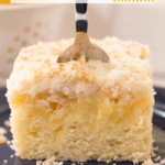 Lemon Curd Coffee Cake with fork and text overlay