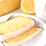 Slices of Lemon Yogurt Cake on plate with text overlay.
