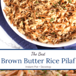 Pictures of rice pilaf with text overlay in middle