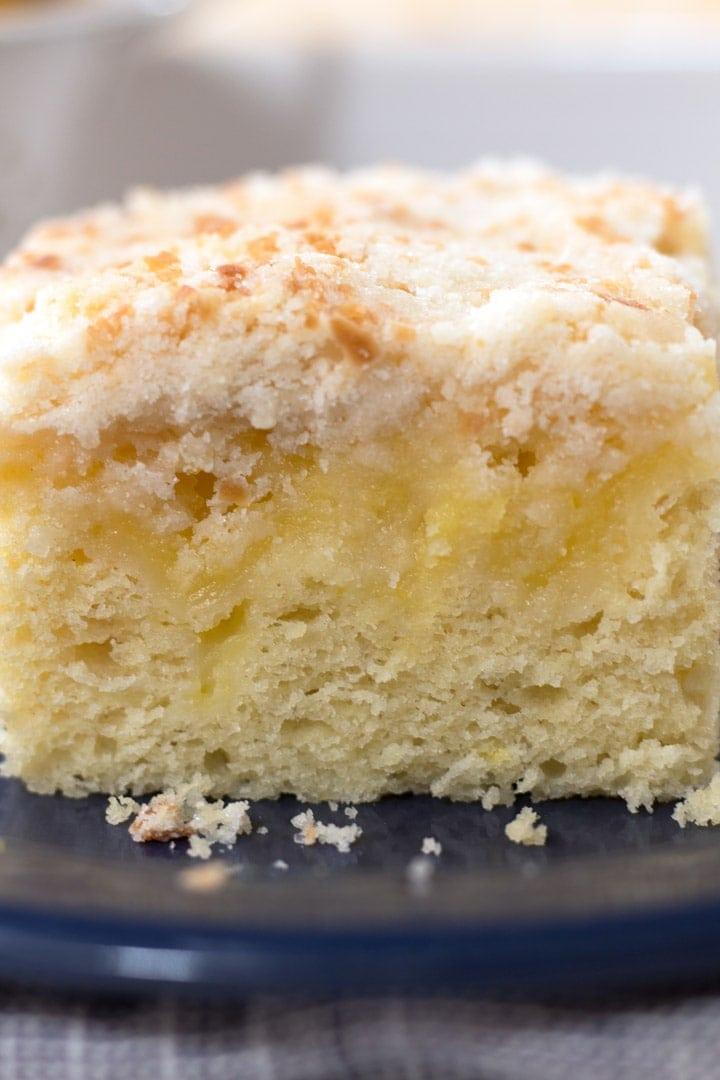 Macro picture of Lemon Coffee Cake Slice.