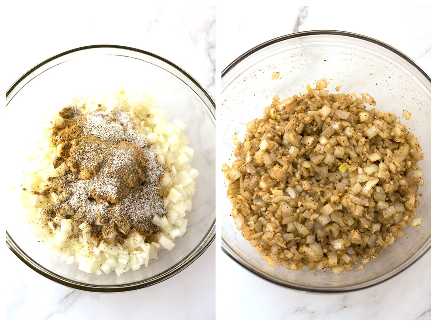 Onions and spices in bowl before and after microwaving.