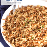 Bowl of Brown Butter Rice Pilaf with text overlay