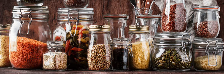 Jars of pantry staples