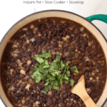 Bit pot of Perfectly Seasoned Black Beans with text overlay
