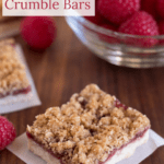 Close up of Raspberry Crumble Bars with text overlay