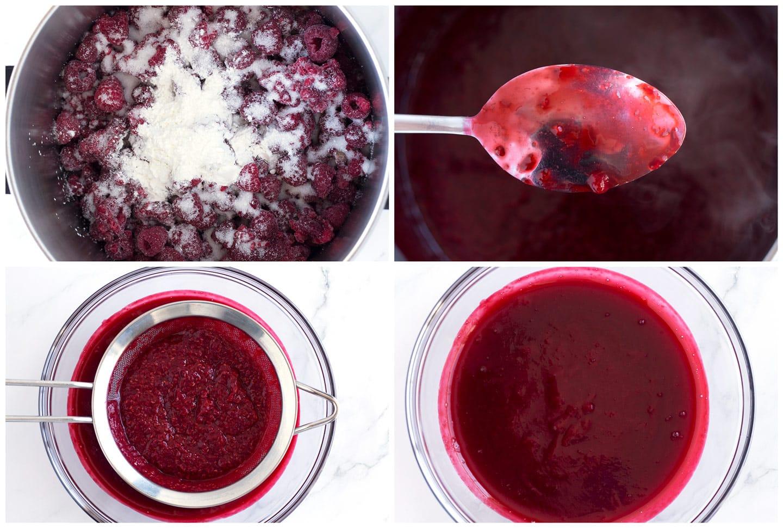 4 steps for making raspberry sauce