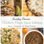 Tinga Tacos, Beans, Pineapple Rice, Roasted Pineapple Habanero Salsa