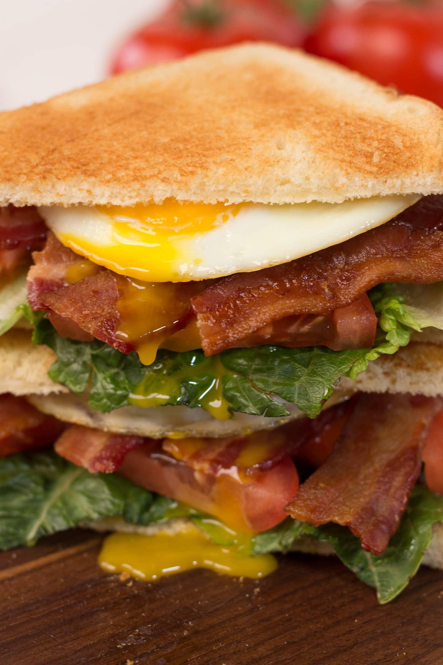 Close up of BELT Sandwich (BLT + Egg)