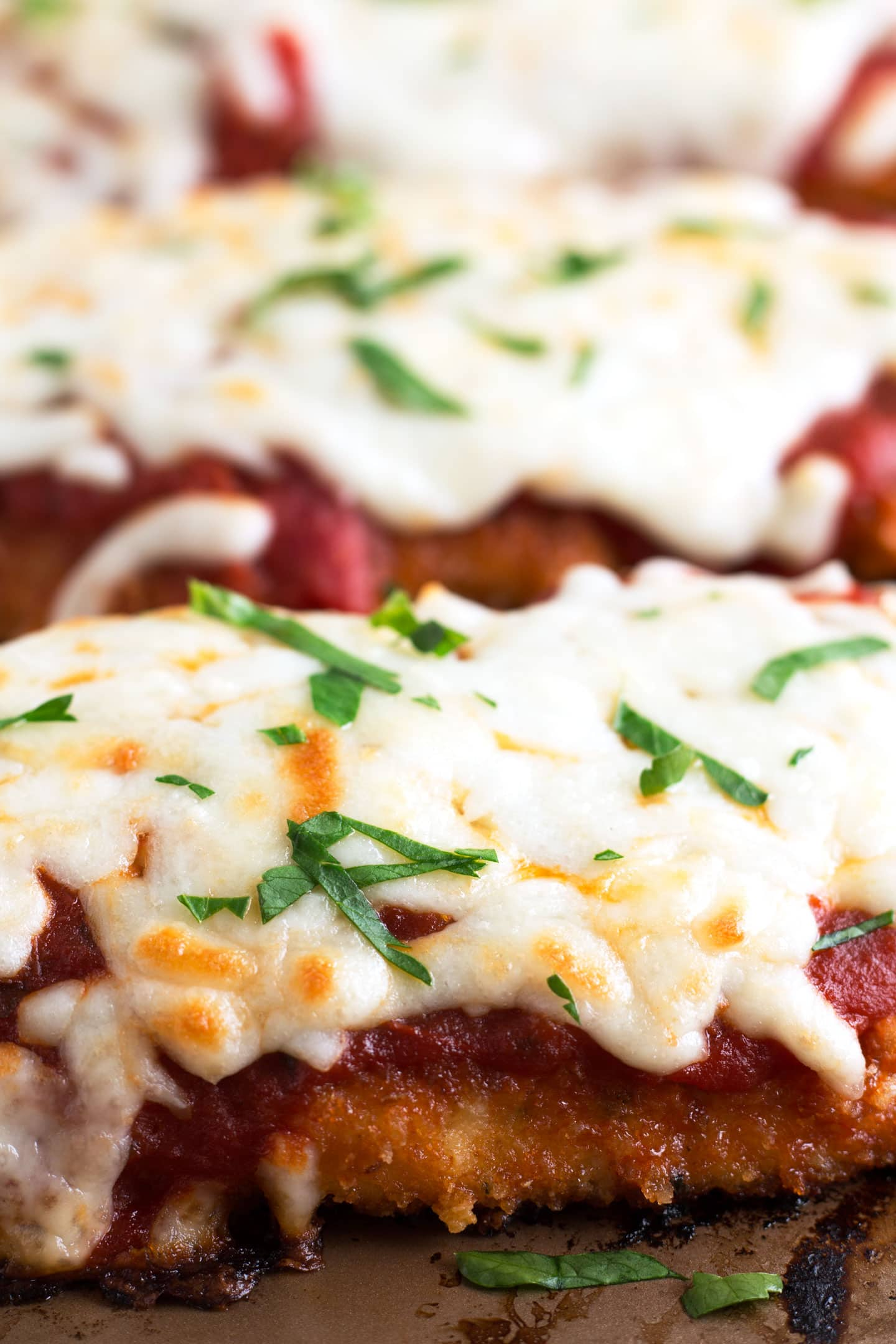 Up Close Chicken Parm on Sheet Pan
