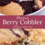 Pan of Triple Berry Cobbler with scoop removed with text overlay
