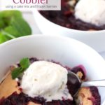 Berry Cobbler with ice cream with text overlay