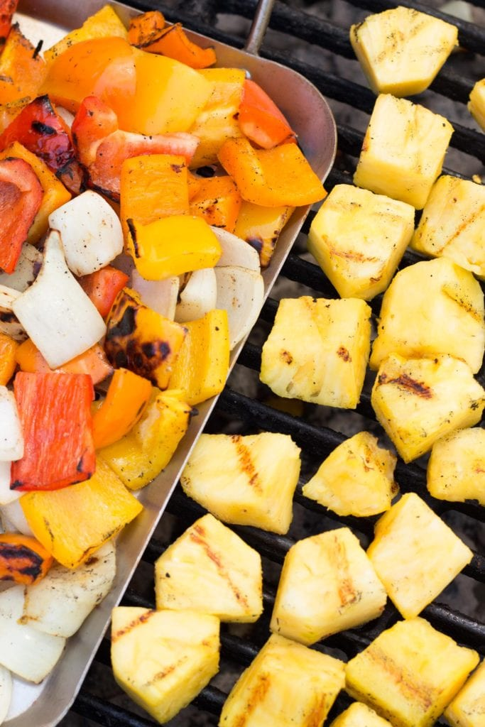 Pineapple and veggies on the grill.