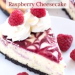 Slice of cheesecake on plate with text overlay