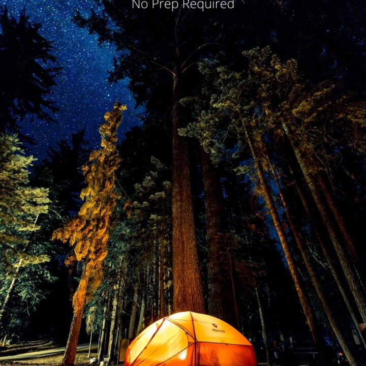 Tent in the woods with text overlay