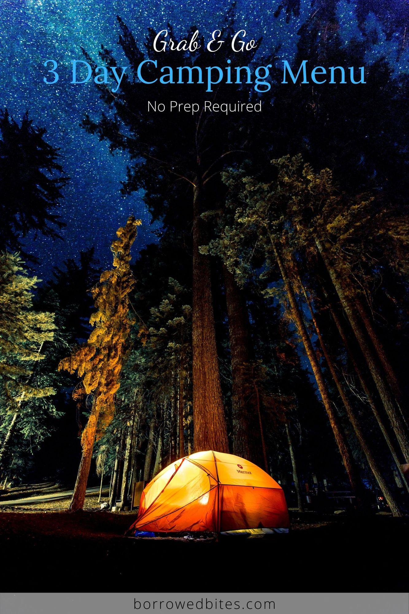 Tent in the forest at night.