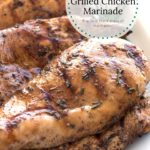 Pieces of Best Ever Grilled Chicken on platter with text overlay