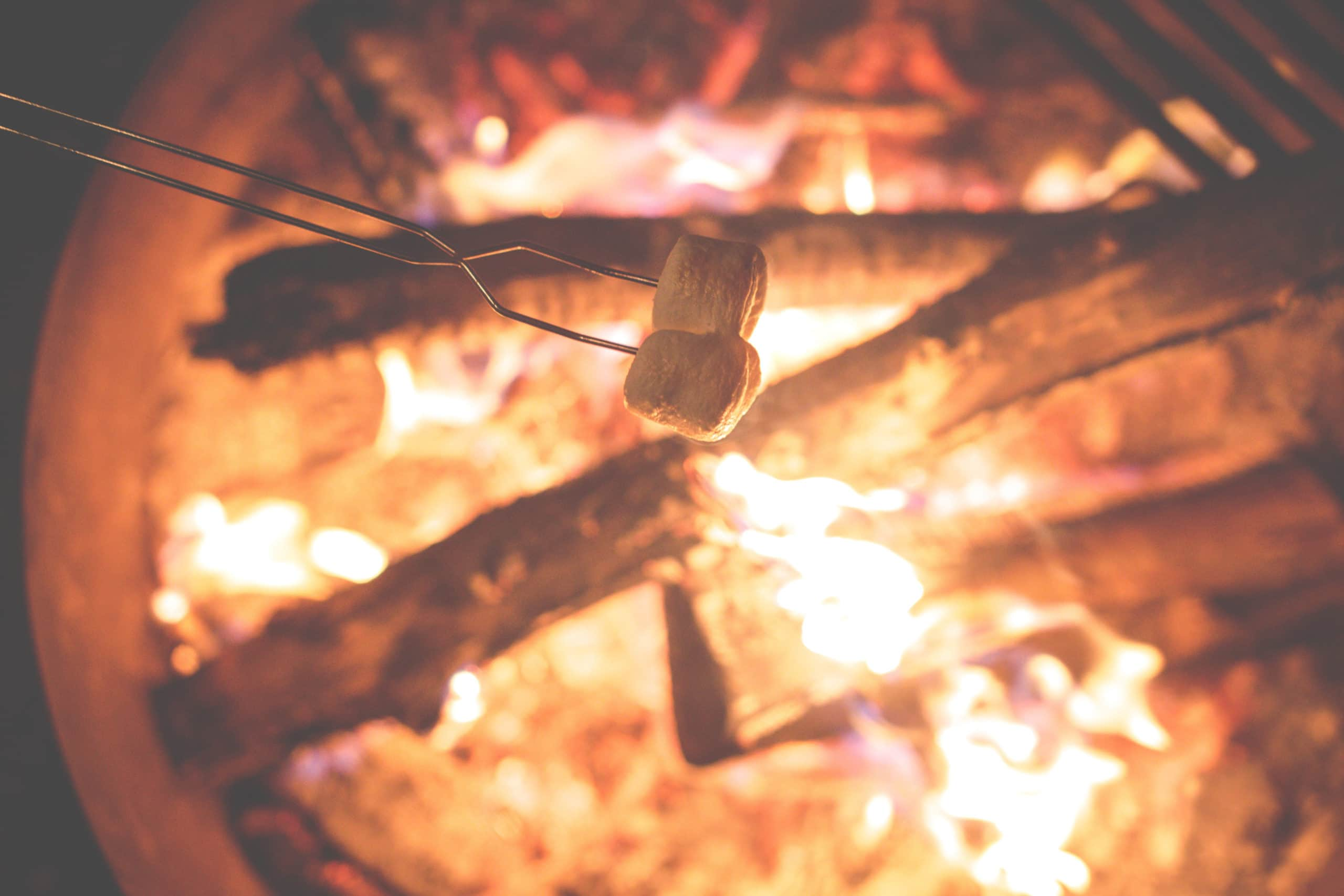 Marshmallows over the campfire.