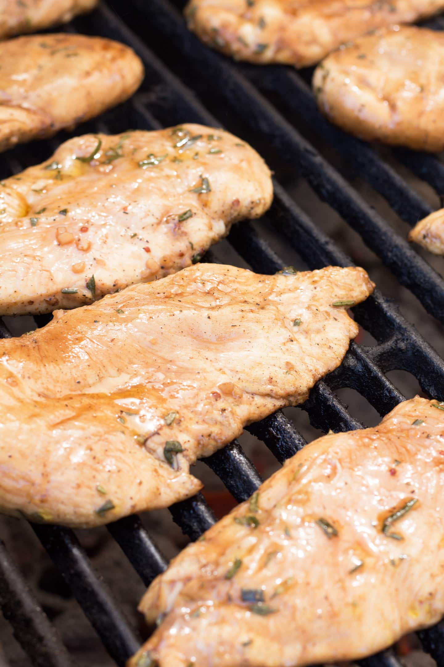Chicken on grill.