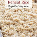 Rice on sheet pan with text overlay