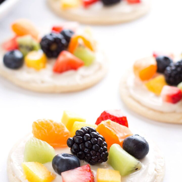 Close up of the mini fruit pizzas.